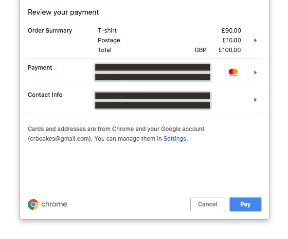 Payment Request Modal In Google Chrome